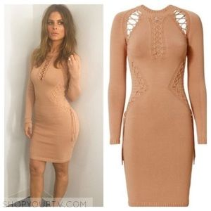 Ronny Kobo Neutral Nude Brighton lace-up dress S